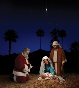 Christmas Nativity with Santa Claus